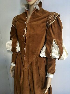 Women'S Shakespearian Theatrical Costume Long Courderoy Skirt And Doublet Uk 6-8