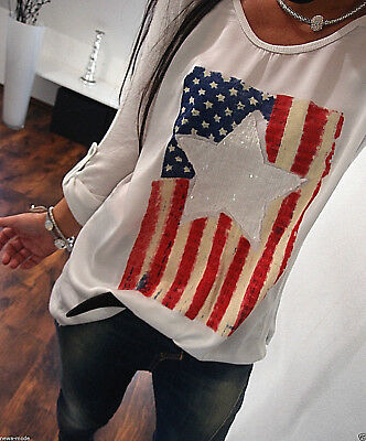 Shirt NEU M L Bluse Glitzer Trend Weiß Flagge Stern Italy Musthave Pailletten 40