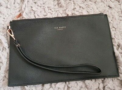 Ted Baker Soft Black Genuine Leather Zipped Clutch Bag VGC