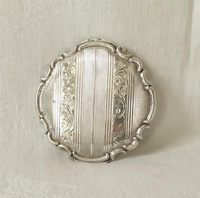 ANTIQUE LATE 19TH CENTURY LADY'S ENGRAVED SILVER COMPACT 124grams