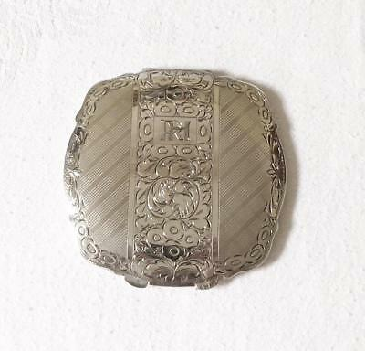 Antique Late 19Th Early 20Th Century Engraved Silver Compact Russian Or French