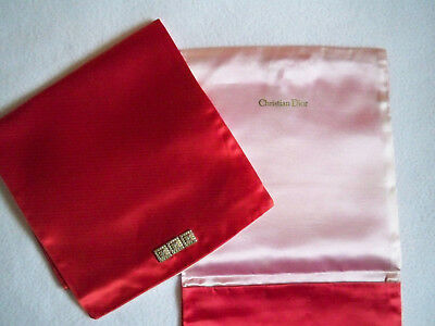 TWO VTG Christian Dior Red Satin Hosiery Bags; Pink Satin lined; Embellished