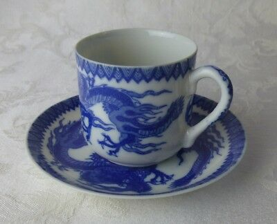 Geisha Girl lithophane Blue Dragon cup & saucer Japan porcelain