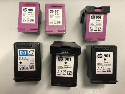 3x HP 901 Color, 1x HP 901 XL black, 2x HP 901 leere Tintenpatronen