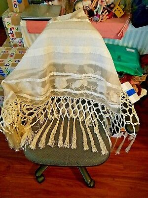 Beautiful Antique Embroidered Silk Fringe Cream Shawl or Tablecloth Early 1900 ?
