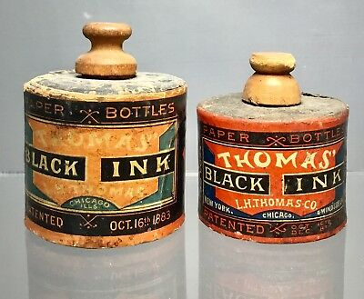 Pair Of LH Thomas Labeled Paper Ink Bottles - Rare