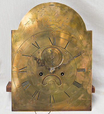 American grandfather clock movement & brass dial @ 1800 Daniel Burnap? Excellent