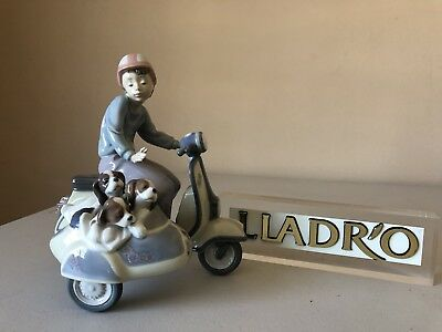 Lladro Precious Cargo 5794 ~ Boy On Vespa Scooter With Puppies Mint!
