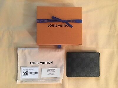 Louis Vuitton Damier Graphite Slender Wallet N63261 in Great Pre-owned Condition