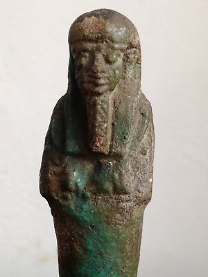 Genuine Ancient Egyptian Glazed Ushabti Shabti Figure