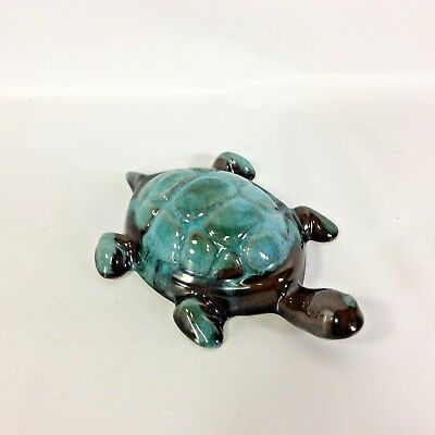 Blue Mountain Pottery Turtle Canadian Art Green Drip BPM Marked 5 x 3.5 in