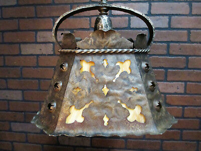 "Vintage Antique Hand Wrought Arts & Crafts Gothic Chandelier Ceiling Light 41"" L"