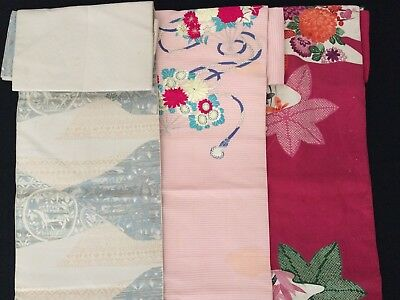 Three Japanese Nagoya obi, poor condition so can be used for the fabric (AD2079)