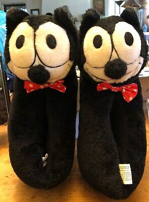 Vintage 1982 Felix the Cat Plush Slippers Size 7-8