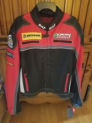 Bilt BLM17-Red Armored Vented Motorcycle Jacket--Size 2x