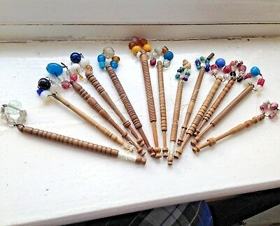 Job Lot of Beautiful Antique Victorian Turned Light Wood Lace Bobbins & Spangles