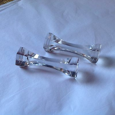 Antique, crystal, knife stand, knife rest, pair, probably victorian (hexagonal)