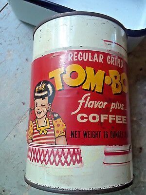 Vintage Tom Boy Tomboy 1 lb Coffee Tin Can St Louis Empty Advertising Graphics