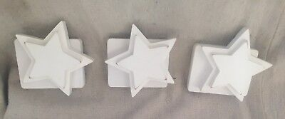 Pottery Barn Kids - Set of 3 White Wooden Star Quilt Clips - EUC