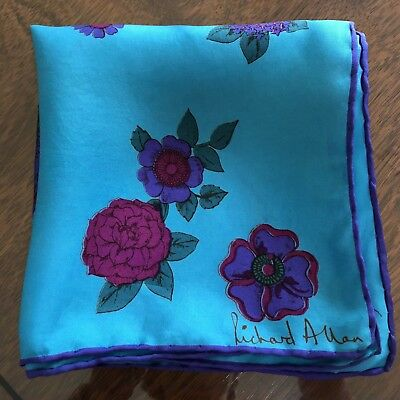 "Richard Allan Pure Silk Turquoise Floral Scarf~28""x28"""