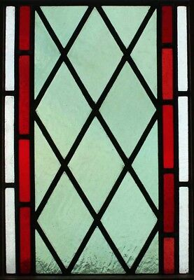 Edwardian Antique  English Stained Glass Window Green With Red Border