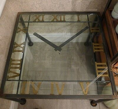 Metal Clock Coffee Table With Glass Top