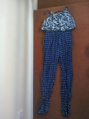 Monsoon Girls Navy / Blue / White Patterned Jumpsuit 12-13 Years