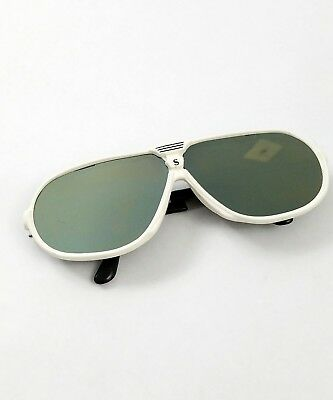 Vintage Aviator Sunglasses 1980s White frame Silver Mirror Sports Retro