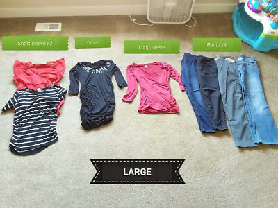 8 Pc Lot Fall Winter Maternity Clothes, Size Large, Shirts, Dress, Pants