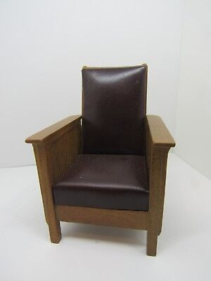 Dollhouse Miniatures, Craftsman Style Armchair w Brown Leather Look, Bespaq