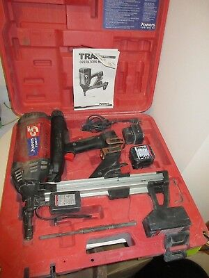 Powers Fasteners C5 Trak It Cordless Tool Gas Fastening Sys  W/2 Batteries &Case