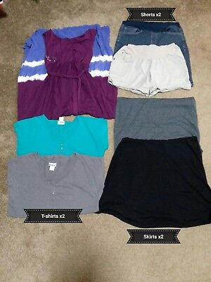 7 Pc Lot summer Maternity Clothes, Size Small, Shirts, Dress, Skirts, Shorts