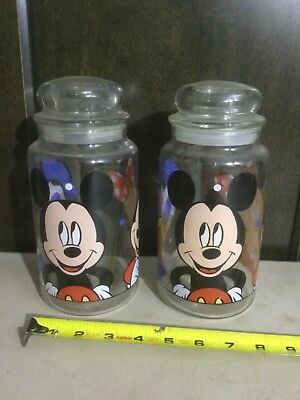 Vintage Disney Cookie Jar / Canister Lot of (2) with Lids - Mickey / Donald Duck