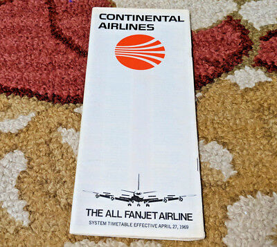 1969 Vintage Continental Airlines Collectible Timetable Schedule Brochure