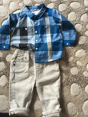 Burberrys Boys Outfit 6 Month Shirt and Denim Trousers