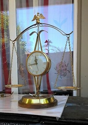 Vtg Polished Brass UNITED Clock US Eagle Scales Of Justice MCM Sweeping Hand 207