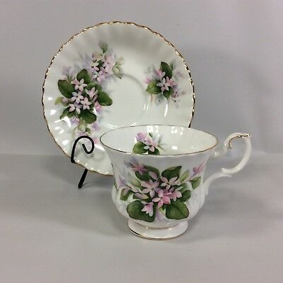 Royal Albert Tea Cup Saucer Mayflower Pink Flower Spray Gold Rim Tone England