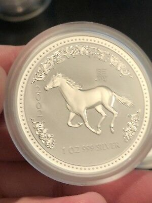 """2002 1 oz Australian Silver Lunar Series I """"Year of The Horse"""" BU Excellent Cond"""