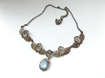 Beautiful Vintage Art Deco 935 Silver Filigree Necklace With Blue Stone Pendant.