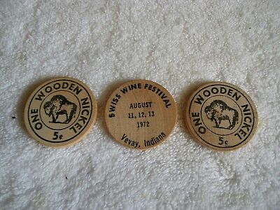 Set Of 3 Wooden Nickels