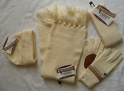 Lot of 4 Ivory ISOTONER stretch leather gloves, scarf, beanie, headband one size