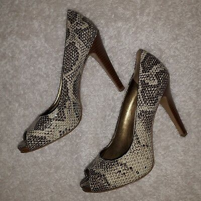 3933e50c7b Nine West Snake Skin Women s Leather Pump Heels sz 8.5 brown beige tan peep  toe