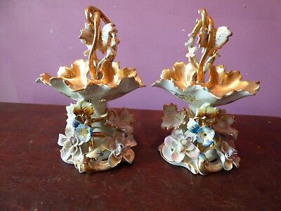 2 Japanese vases with floral motif multi colored