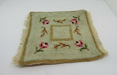 Dollhouse Miniatures, Needlepoint Area Rug, Vintage, Blue/Pink/Gold, 1/12th