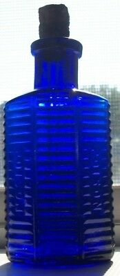 1/2 Ounce Cobalt Blue Small Size Clgco Embossed Poison Original Dropper 2.75 In