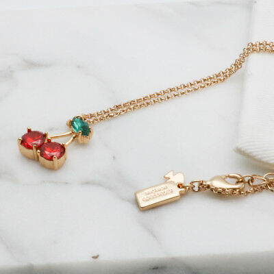 Kate Spade 12k Gold-Plated Cherry Crystal Pendant Necklace with dust bag
