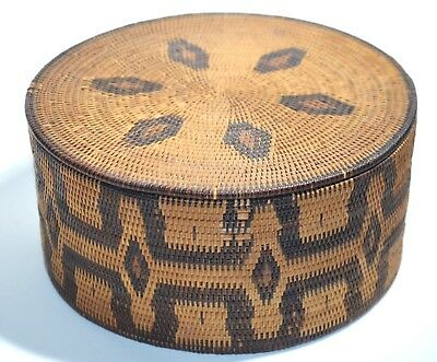 tightly hand woven round lidded box tribal vintage