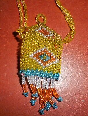 """Authentic early Native American Miniature Beaded Purse Necklace 25"""" Beadwork"""