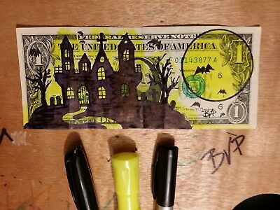 Holloween 2018 Hand Painted Hinted Hobo Art Real Money Signed Dollar Bill BVP