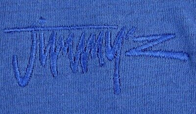 VINTAGE JIMMY'Z t shirt mens ribbed blue cotton spell-out surf brand surfing